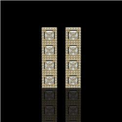 5.31 CTW Princess Diamond Designer Earrings 18K Yellow Gold - REF-978X4T - 42640
