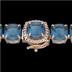 35 CTW London Blue Topaz & Micro VS/SI Diamond Halo Bracelet 14K Rose Gold - REF-152Y2K - 23331