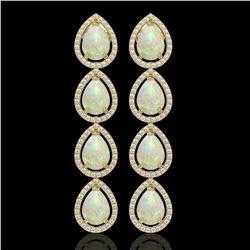 9.12 CTW Opal & Diamond Halo Earrings 10K Yellow Gold - REF-174T5M - 41299