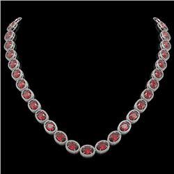 49.46 CTW Tourmaline & Diamond Halo Necklace 10K White Gold - REF-763F6N - 40571
