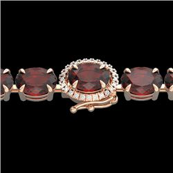 32 CTW Garnet & VS/SI Diamond Eternity Tennis Micro Halo Bracelet 14K Rose Gold - REF-119W5F - 23426