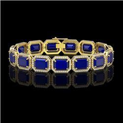 38.61 CTW Sapphire & Diamond Halo Bracelet 10K Yellow Gold - REF-392X4T - 41530