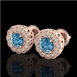 1.32 CTW Fancy Intense Blue Diamond Art Deco Stud Earrings 18K Rose Gold - REF-218T2M - 37839