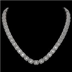 33.10 CTW Emerald Cut Diamond Designer Necklace 18K White Gold - REF-6910T2M - 42659