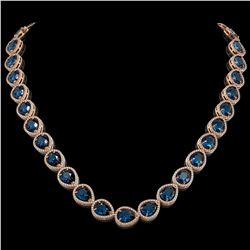 44.8 CTW London Topaz & Diamond Halo Necklace 10K Rose Gold - REF-625X3T - 41223