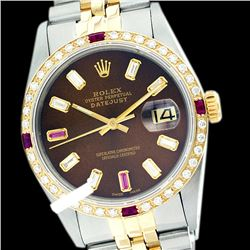 Rolex Men's Two Tone 14K Gold/SS, QuickSet, Diam/Ruby Dial & Diam/Ruby Bezel - REF-557H2W