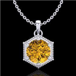 0.82 CTW Intense Fancy Yellow Diamond Art Deco Stud Necklace 18K White Gold - REF-114Y5K - 38050