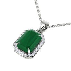 5.50 CTW Emerald & Micro Pave VS/SI Diamond Halo Necklace 18K White Gold - REF-77M8H - 21358