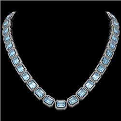 80.98 CTW Aquamarine & Diamond Halo Necklace 10K White Gold - REF-1317A3X - 41498