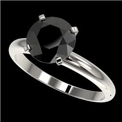 2.59 CTW Fancy Black VS Diamond Solitaire Engagement Ring 10K White Gold - REF-64N8Y - 36455