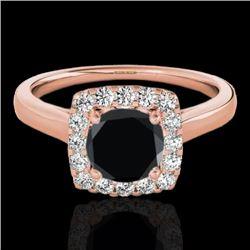 1.37 CTW Certified VS Black Diamond Solitaire Halo Ring 10K Rose Gold - REF-68M2H - 33413