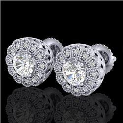 1.32 CTW VS/SI Diamond Solitaire Art Deco Stud Earrings 18K White Gold - REF-245F5N - 37052
