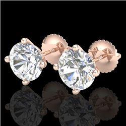 3.01 CTW VS/SI Diamond Solitaire Art Deco Stud Earrings 18K Rose Gold - REF-927A3X - 37311