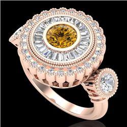 2.62 CTW Intense Fancy Yellow Diamond Art Deco 3 Stone Ring 18K Rose Gold - REF-290A9X - 37925