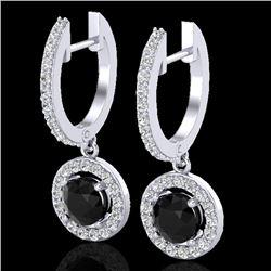 1.75 CTW Micro Pave Halo VS/SI Diamond Earrings 18K White Gold - REF-96W5F - 23251
