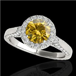 2.15 CTW Certified Si/I Fancy Intense Yellow Diamond Solitaire Halo Ring 10K White Gold - REF-418K2W