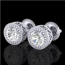 1.09 CTW VS/SI Diamond Solitaire Art Deco Stud Earrings 18K White Gold - REF-202H8A - 36887