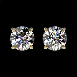 1 CTW Certified H-SI/I Quality Diamond Solitaire Stud Earrings 10K Yellow Gold - REF-94W5F - 33051