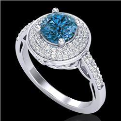 1.7 CTW Intense Blue Diamond Solitaire Engagement Art Deco Ring 18K White Gold - REF-254A5X - 38125