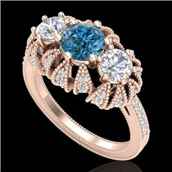 2.26 CTW Fancy Intense Blue Diamond Art Deco 3 Stone Ring 18K Rose Gold - REF-254W5F - 37748
