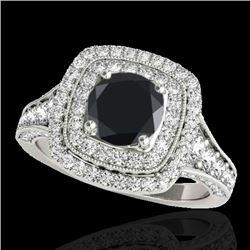 2 CTW Certified VS Black Diamond Solitaire Halo Ring 10K White Gold - REF-114T5M - 33655