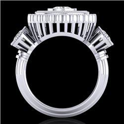 2.62 CTW VS/SI Diamond Solitaire Art Deco 3 Stone Ring 18K White Gold - REF-343M5H - 37088