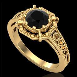 1 CTW Fancy Black Diamond Solitaire Engagement Art Deco Ring 18K Yellow Gold - REF-100K2W - 37445