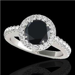 1.65 CTW Certified VS Black Diamond Solitaire Halo Ring 10K White Gold - REF-80X4T - 33475