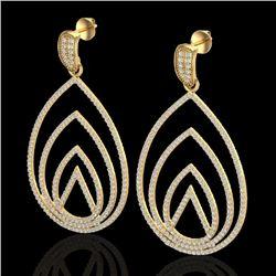 2.50 CTW Micro Pave VS/SI Diamond Designer Earrings 18K Yellow Gold - REF-277F6N - 22478