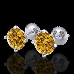 3.01 CTW Intense Fancy Yellow Diamond Art Deco Stud Earrings 18K White Gold - REF-472W8F - 38260