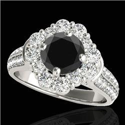 2.81 CTW Certified VS Black Diamond Solitaire Halo Ring 10K White Gold - REF-136W5F - 33961
