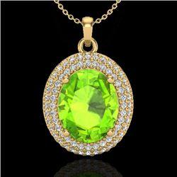4.50 CTW Peridot & Micro Pave VS/SI Diamond Necklace 18K Yellow Gold - REF-112K8W - 20570
