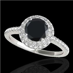 1.6 CTW Certified VS Black Diamond Solitaire Halo Ring 10K White Gold - REF-75F3N - 33673