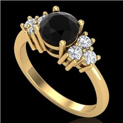 1.5 CTW Fancy Black Diamond Solitaire Engagement Classic Ring 18K Yellow Gold - REF-120K2W - 37599