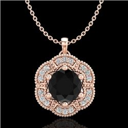 1.01 CTW Fancy Black Diamond Solitaire Art Deco Stud Necklace 18K Rose Gold - REF-74H2A - 37969