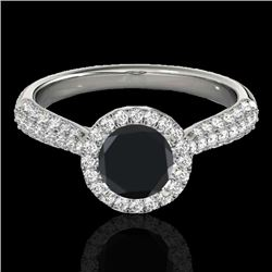 1.4 CTW Certified VS Black Diamond Solitaire Halo Ring 10K White Gold - REF-63T5M - 33301
