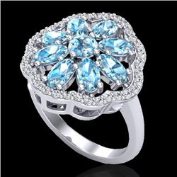3 CTW Sky Blue Topaz & VS/SI Diamond Cluster Halo Ring 10K White Gold - REF-52K2W - 20774
