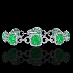 25 CTW Emerald & Micro VS/SI Diamond Bracelet 14K White Gold - REF-457W3F - 23021