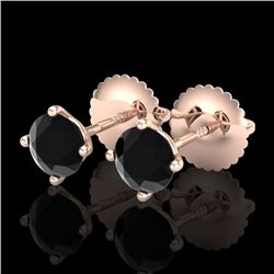 0.65 CTW Fancy Black Diamond Solitaire Art Deco Stud Earrings 18K Rose Gold - REF-36F4N - 38221