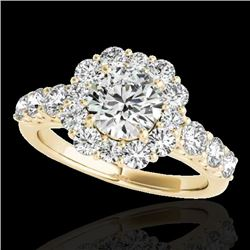 2.9 CTW H-SI/I Certified Diamond Solitaire Halo Ring 10K Yellow Gold - REF-413H3A - 33393