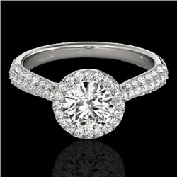 1.4 CTW H-SI/I Certified Diamond Solitaire Halo Ring 10K White Gold - REF-170X4T - 33298