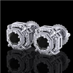 1.11 CTW Fancy Black Diamond Solitaire Art Deco Stud Earrings 18K White Gold - REF-100Y2K - 37450