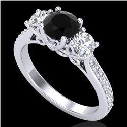 1.67 CTW Fancy Black Diamond Solitaire Art Deco 3 Stone Ring 18K White Gold - REF-156H4A - 37807