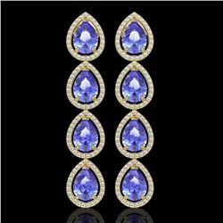 11.2 CTW Tanzanite & Diamond Halo Earrings 10K Yellow Gold - REF-286W9F - 41293