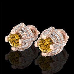 2.75 CTW Intense Fancy Yellow Diamond Micro Pave Stud Earrings 18K Rose Gold - REF-236K4W - 37631