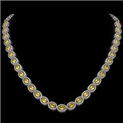 28.52 CTW Fancy Citrine & Diamond Halo Necklace 10K White Gold - REF-498N9Y - 40442