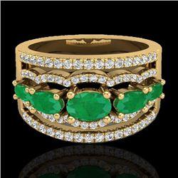 2.25 CTW Emerald & Micro Pave VS/SI Diamond Designer Ring 10K Yellow Gold - REF-71M3H - 20801