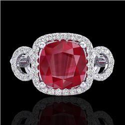 3.15 CTW Ruby & Micro VS/SI Diamond Ring 18K White Gold - REF-76M9H - 23008