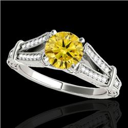 1.25 CTW Certified Si Intense Yellow Diamond Solitaire Antique Ring 10K White Gold - REF-214F5N - 34