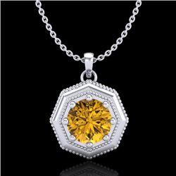 0.75 CTW Intense Fancy Yellow Diamond Art Deco Stud Necklace 18K White Gold - REF-100K2W - 37945